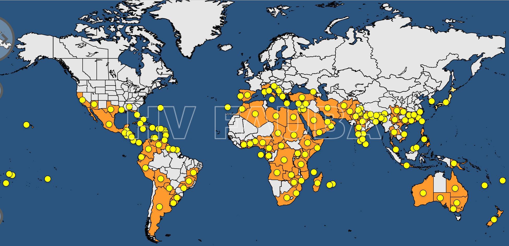 Distribución mundial de CTV. Fuente: EPPO